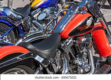 "FORLI', ITALY - JULY 14: shiny bikes Harley Davidson in motorcycle rally ""Run del Passatore"" on July 14, 2012 in Forli (FC) Italy"