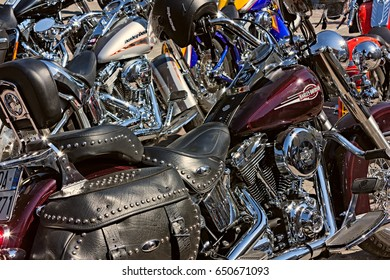 "FORLI, ITALY - JULY 14: shiny bikes Harley Davidson in motorcycle rally "" Run del Passatore"" on July 14, 2012 in Forli (FC) Italy"