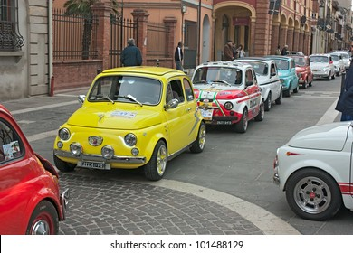 "FORLIMPOPOLI (FC) ITALY - APRIL 1: old italian small cars at "" Fiat 500 day of Forlimpopoli"", rally of vintage economy car Fiat 500, on April 1, 2012 in Forlimpopoli (FC) Italy"
