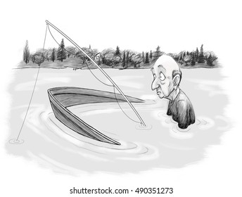 A forlorn fisherman sits in his boat, chest-deep in the lake.