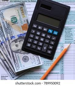 Form 1040 Income Tax Return Cash Money Calculator