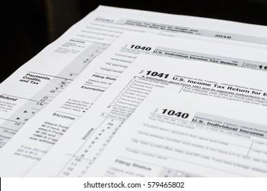 Form 1040 Individual Income Tax return form. Form 1041 U.S. Income Tax Return for Estates and Trusts. United States Tax forms 2016/2017. Form 1040EZ Income Tax Return