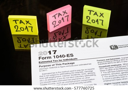form 1040 es estimated tax individuals united stock photo (edit now
