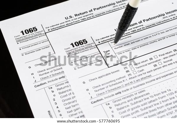 form 1065 us  Form 7 Us Return Partnership Income Stock Photo (Edit Now ...