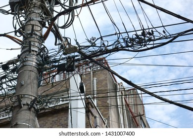 The form of the city. Power pole and  power lines
