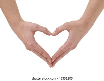 The form of heart shaped by hands on a white background