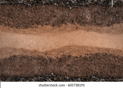 Form of soil layers,its colour and textures,texture layers of earth