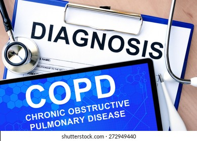 Form with word diagnosis and tablet with Chronic obstructive pulmonary disease (COPD)