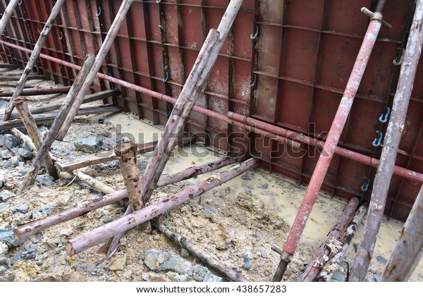 Form Work Concrete Reinforcement Retaining Wall Stock Photo Edit