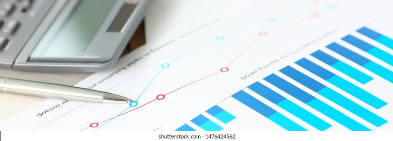Formal Account Document Finance Profit Calculation. Chart, Calculator, Pen at Workplace. Business Financial Data on Paper Closeup. Annual Bill Paying Economy Tax Report Salary Accounting