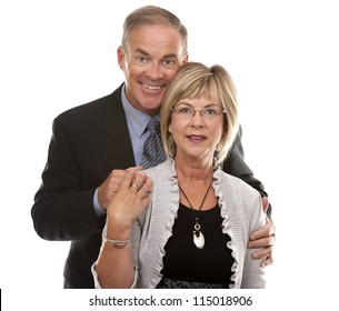 formal couple posing together on white isolated background