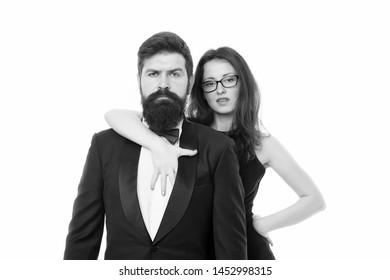 Formal fashion. Business couple. Love. Romantic couple in love. Elegant couple in formal wear. sexy woman bearded man. Sexy couple. Elegant fashion model. Trendy fashion look. formal event fashion.