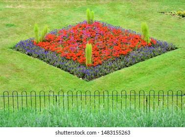 A formal flower bed in Colchester, Essex, England, UK.