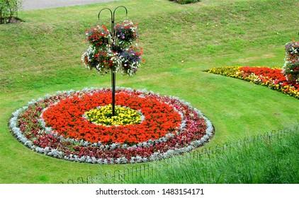 Formal flower beds in Colchester, Essex, England, UK.
