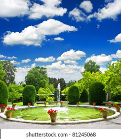 formal garden. public park in stuttgart, germany
