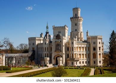 Formal Gardens and Castle in Hluboka nad Vltavou, Czech Republic
