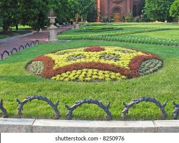 Formal geometric garden near National Mall in Washington, DC