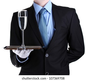 formal waiter with a glass of water on silver tray isolated on white