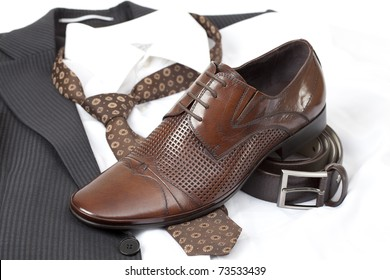 Formal wear with belt and brown shoes