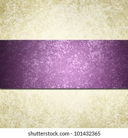 formal white background with purple ribbon or stripe and vintage grunge background texture, white paper background for wedding invitation or elegant brochure template design of old paper