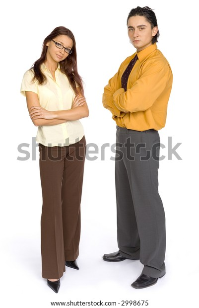 Formalwear man and woman standing on the white background in studio. Both looking at camera.