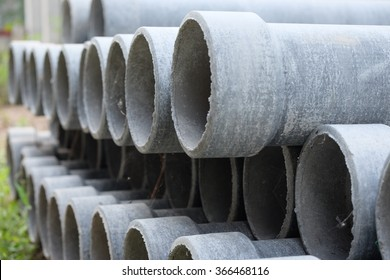 Format asbestos piping.Asbestos pipe are cut in different sizes.Asbestos pipe used to put the sewage system.