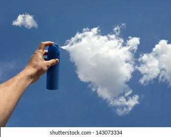 the formation of clouds, spray in the hands of man