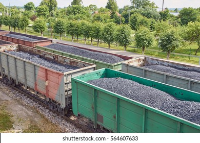 Formation of coal trains in a freight depot - coal, mining, train