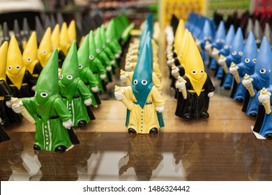 Formation of colourful souvenirs of Holy Week brotherhood in traditional costume, NOT Ku Klux Klan,  Cordoba, Spain - Shutterstock ID 1486324442