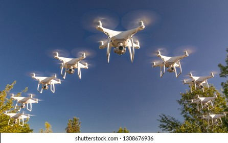 Formation of Drones Swarm in the Blue Sky.