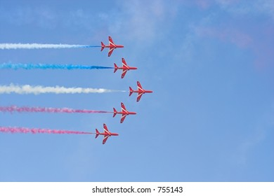 Formation flight of the Royal Air Force Aerobatics team the Red Arrows