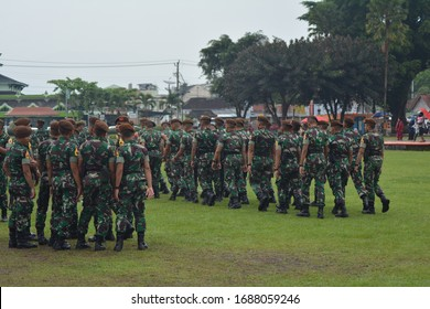 A formation line of female military students, indonesia, august 17th 2019