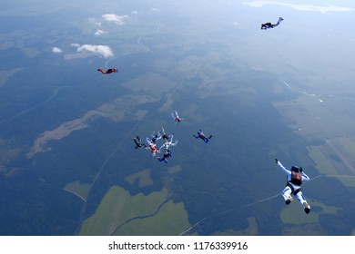 Formation skydiving. Group jump.