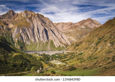 Formazza Valley in summer season with little village of Riale and Lake of Morasco, Piedmont - Italy