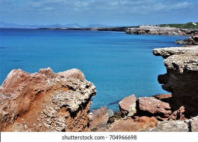 Formentera, blue sea,Mediterranean sea, favorite destination of foreign tourists in SpainSeascape of Balearic Islands, Spain
