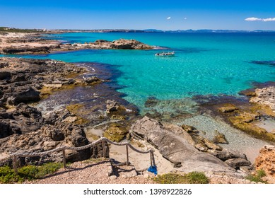 Formentera, Spain April 26, 2019. It is Calo de San Agustin in Formentera is one of the most beautiful places in Formentera. crystal clear turquoise waters. Local fishermen mingle with quiet tourism.