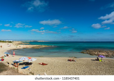 FORMENTERA, SPAIN - SEPTEMBER 12, 2017: Es Caló beach to the northeast, long coastline with coves and rocky areas