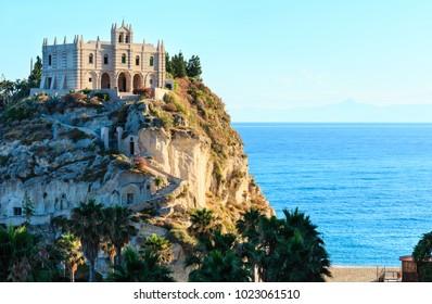 Former 4th century monastery on top of the Sanctuary of Santa Maria Island - Tropea, Calabria, Italy. Tropea Beach at Tyrrhenian Sea.