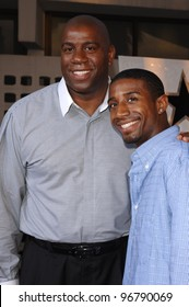 Former basketball star EARVIN MAGIC JOHNSON & son ANDRE at the Los Angeles premiere of King's Ransom. April 21, 2005 Los Angeles, CA.  2005 Paul Smith / Featureflash