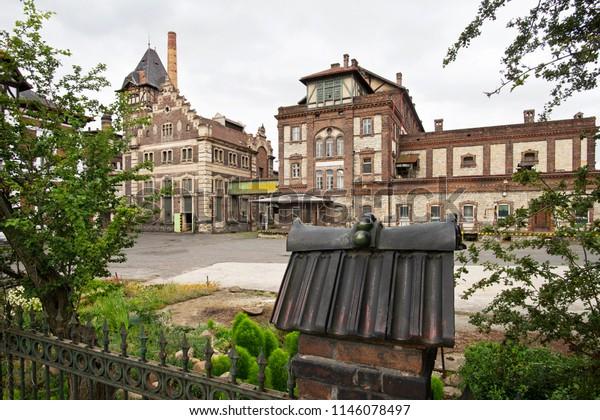 Former brewery in Zatec town. Czech Republic.