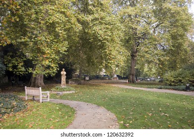 The former burial ground now St George's Gardens, Bloomsbury, London.  The Georgian cemetery was turned into public gardens in Victorian times.