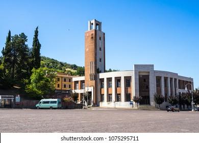"""Former """"Casa del fascio"""" built by Mussolini is a fine example of italian rationalist architecture. Predappio, Emilia Romagna, Italy, August 2017"""