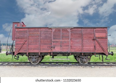 Former cattle train wagon used for jewish people transportation to concentration and extermination camp during the second world war. On display in Auschwitz II (Birkenau), Poland