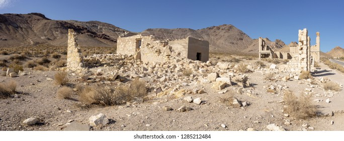 Former Cook Bank building at Ghost town Rhyolite near Beatty at Hwy 374, Nevada, USA