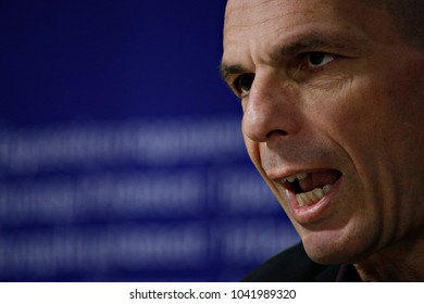 Greeceâ??s former finance minister Yanis Varoufakis holds press conference to announce filing a vital Freedom of Information request to the ECB in Brussels, Belgium on Mar. 8, 2017