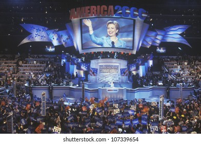 Former First Lady Hillary Rodham Clinton, the candidate for New York Senate, at the 2000 Democratic Convention at the Staples Center, Los Angeles, CA