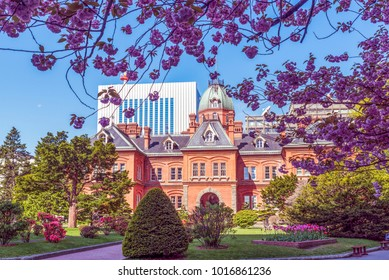 Former Hokkaido Government Office Building during  sakura blooming season in Sapporo, Japan