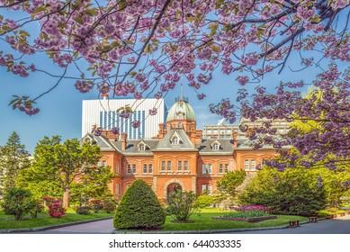 Former Hokkaido Government Office Building during  sakura blooming season in Sapporo, Japan
