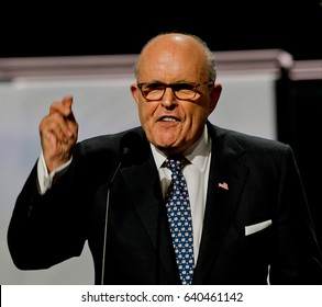 Former Mayor of New York City Rudy Giuliani addresses the Republican National Nominating Convention in the Quicken Sports Arena Cleveland Ohio, July 18th, 2016.