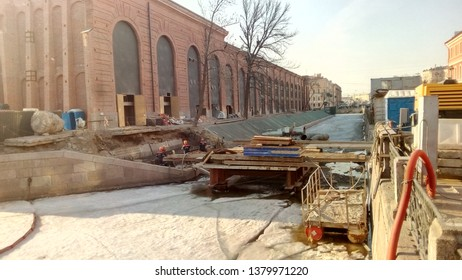 Former naval prison on New Holland island in St.Petersburg, Russia